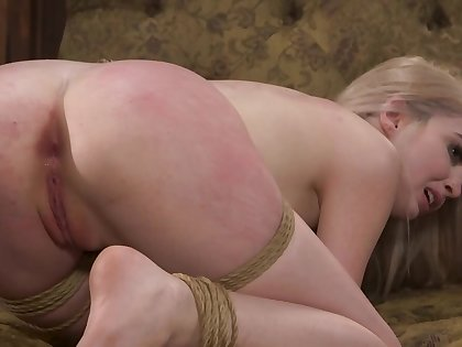 Blonde gets a hard hunger and spanking from her master