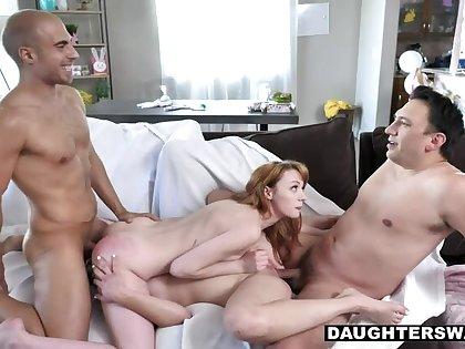 Slutty Bunnies Cecelia Taylor And Katie Kush Suck On the top of Their Stepdaddies Dicks