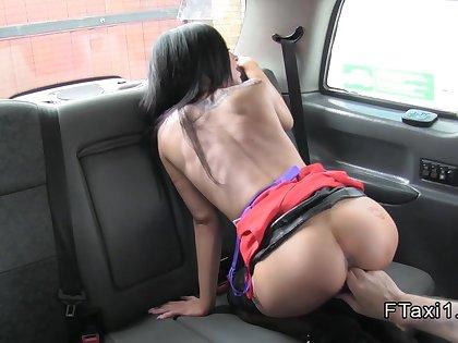 Cab driver bangs filthy busty escort