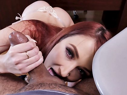 Erotic display of young redhead sucking and fucking truly hard