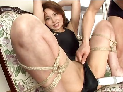 Kinky Japanese wife loves being tied down together with pleasured with toys