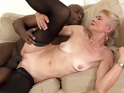 Slutty granny with saggy tits, Beata was wearing a sexy, white-hot dress before fucking a threatening guy