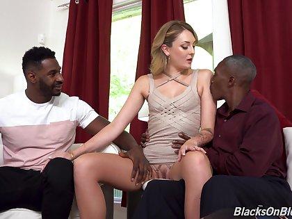 Hardcore interracial MMF threesome alongside slutty fit together Charlotte Sins